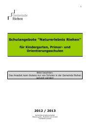 Naturerlebnis Angebote 2013 1 - Riehen