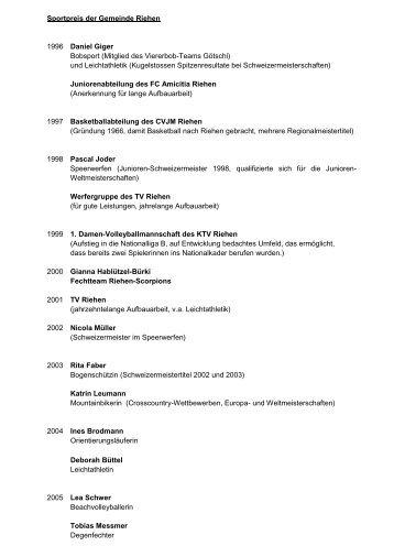 Sportpreisträgerinnen und -träger der Gemeinde Riehen seit 1996