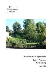 Naturschutzkonzept Riehen Teil 2 Siedlung Kurzfassung