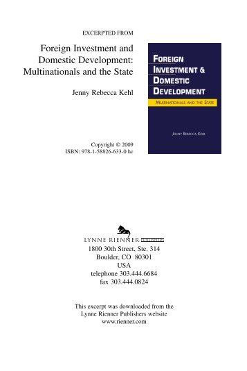Foreign Investment and Domestic Development: Multinationals and ...
