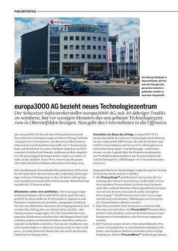 europa3000 ag bezieht neues technologiezentrum Der Schweizer