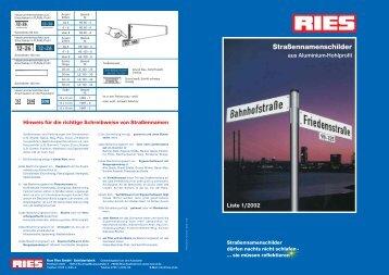 Straßennamenschilder - Kurt Ries GmbH
