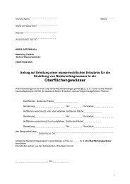 Antrag auf Erteilung einer wasserrechtlichen Erlaubnis für die ...