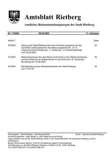 Ausgabe 11/2005 - Stadt Rietberg
