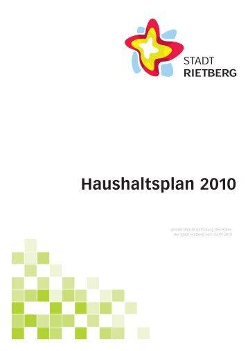 Haushaltsplan 2010 lt. Beschlussf.v.29.04.10 - Stadt Rietberg