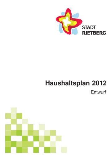 Entwurf des Haushaltsplans 2012 - Stadt Rietberg