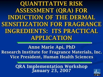 Dermal Sensitization QRA Approach for Fragrance Ingredient