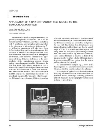 application of x-ray diffraction techniques to the ... - Rigaku