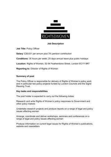 Job Description Job Title: Policy Officer Salary ... - Rights of Women