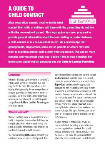 A GUIDE TO CHILD CONTACT - Rights of Women