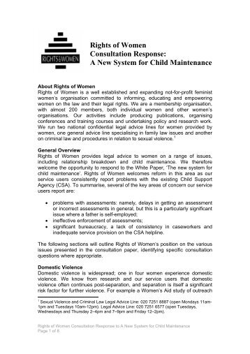 A new system for child maintenance - Rights of Women