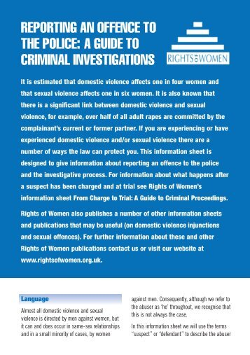 reporting an offence to the police - Rights of Women