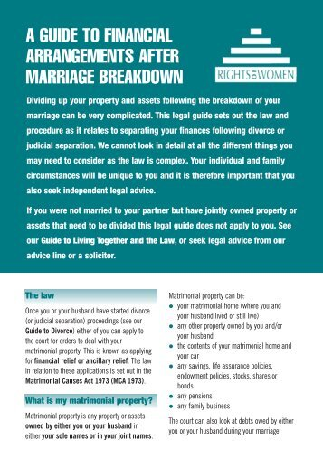 Financial Arrangements After Marriage Breakdown - Rights of Women