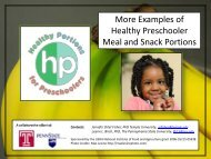 More Examples of Healthy Preschooler Meal and Snack ... - eXtension