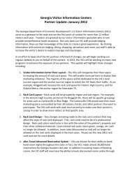 Georgia Visitor Information Centers Partner Update: January 2012