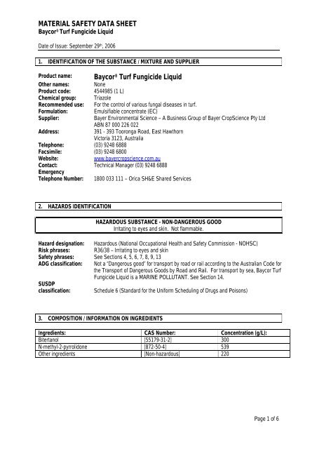 MATERIAL SAFETY DATA SHEET Baycor® Turf Fungicide Liquid