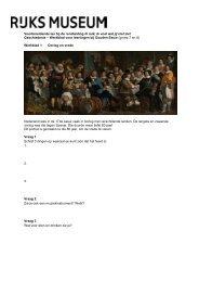 Werkblad voor leerlingen - Rijksmuseum