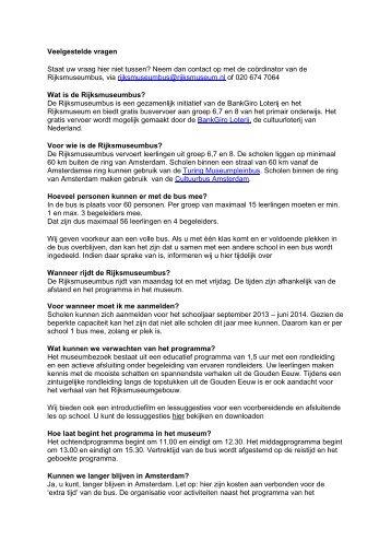 Veelgestelde vragen Staat uw vraag hier niet tussen ... - Rijksmuseum