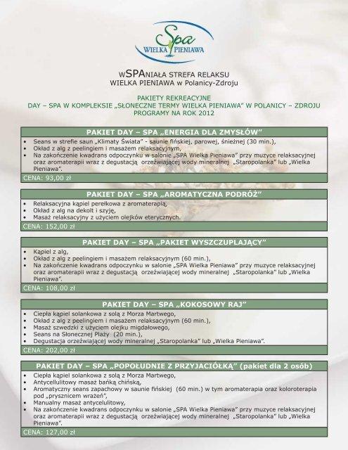 Pakiety rekreacyjne Day SPA w kompleksie - SPA Wielka Pieniawa