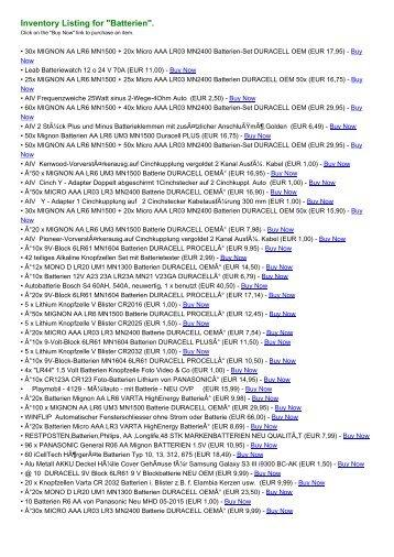 "Inventory Listing for ""Batterien"". - Benetton Online Shop"