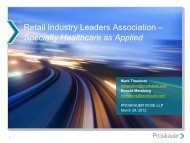 Specialty Healthcare Webinar (March 2012) - Retail Industry ...