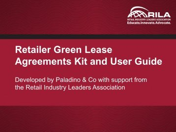 Green Agreements Resource Kit - Retail Industry Leaders Association