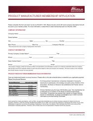 product manufacturer membership application - Retail Industry ...