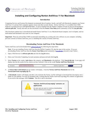 Installing and Configuring Norton AntiVirus 11 for Macintosh
