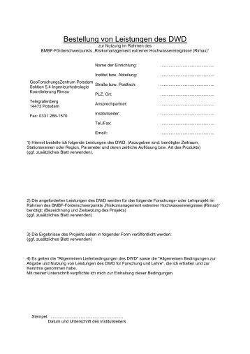 Verfahrensvorschriften zur Abgabe von Daten und ... - RIMAX