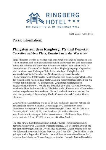 Presseinformation: Pfingsten auf dem Ringberg: PS und Pop-Art