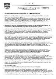 Auszug aus der Sitzung vom 16.06.2010 - Ringelai