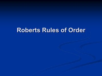 Roberts Rules of Order - Big Darby Accord