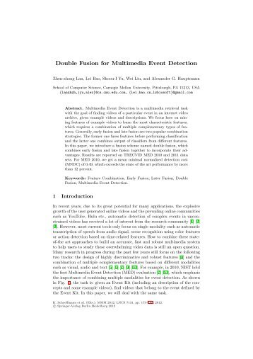 Double Fusion for Multimedia Event Detection - School of Computer ...