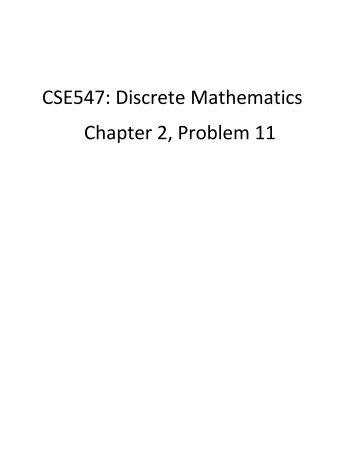 CSE547: Discrete Mathematics Chapter 2, Problem 11
