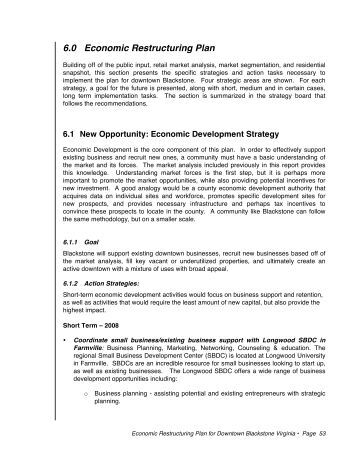 Economic Restructuring Plan Sec 6.1 - Downtown Blackstone Inc.