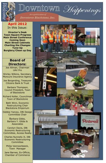 pdf version of most recent newsletter - Downtown Blackstone Inc.