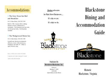 Dining & Accommodations - Downtown Blackstone Inc.
