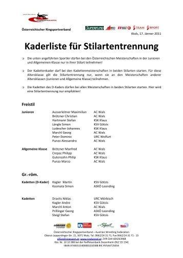 Kaderliste für Stilartentrennung - Österreichischer Ringsportverband ...