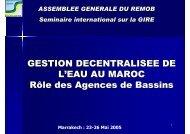 GESTION DECENTRALISEE DE L'EAU AU MAROC Rôle ... - INBO