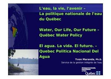 L'eau, la vie, l'avenir – La politique nationale de l'eau du ... - INBO