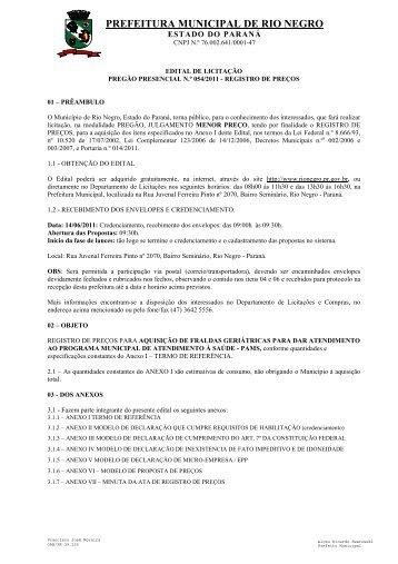 preg054-2011 - fraldas geriatricas - Prefeitura Municipal de Rio Negro