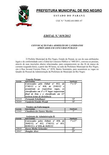 Edital 019/2012 - Prefeitura Municipal de Rio Negro