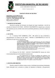 Impetrante: Todt Comercial Ltda - Prefeitura Municipal de Rio Negro