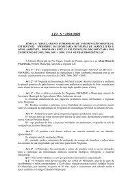 LEI N.º 1894/2009 - Prefeitura Municipal de Rio Negro