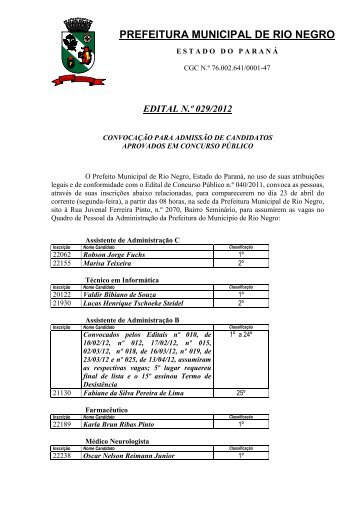 Edital 029/2012 - Prefeitura Municipal de Rio Negro