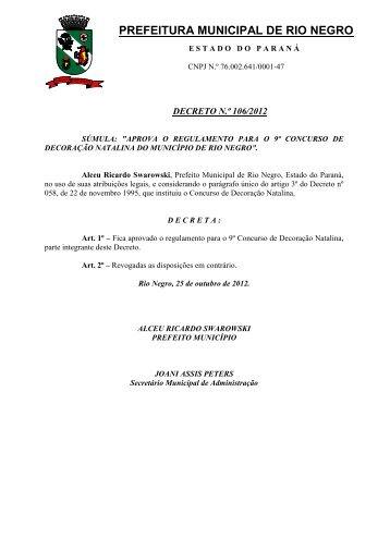 decreto n.º 106/2012 - Prefeitura Municipal de Rio Negro