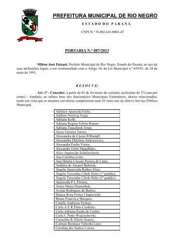 Portaria n.º 087/2013 - Prefeitura Municipal de Rio Negro