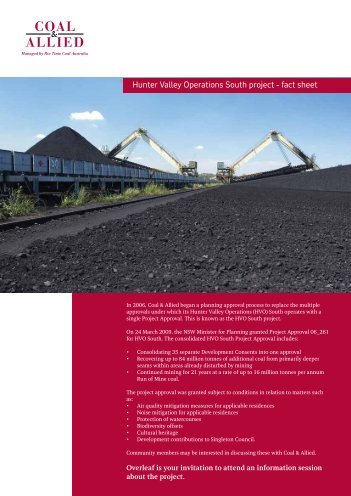 HVO South project fact sheet June 2009 - Rio Tinto Coal Australia