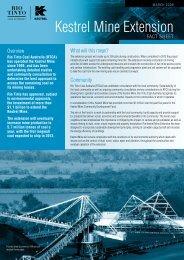 Kestrel Mine Extension fact sheet - Rio Tinto Coal Australia