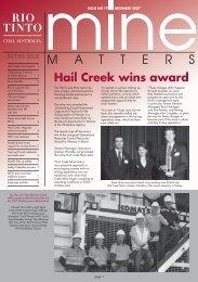 Hail Creek wins award - Rio Tinto Coal Australia